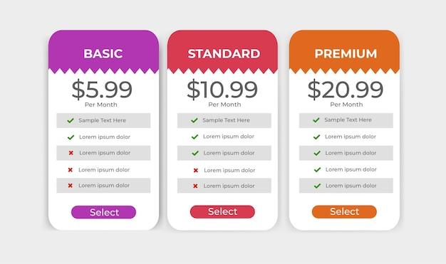 Planos de preços de modelo de etiqueta de site