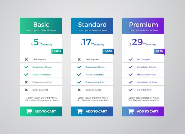 Planos de tabela de preços elegantes clean template