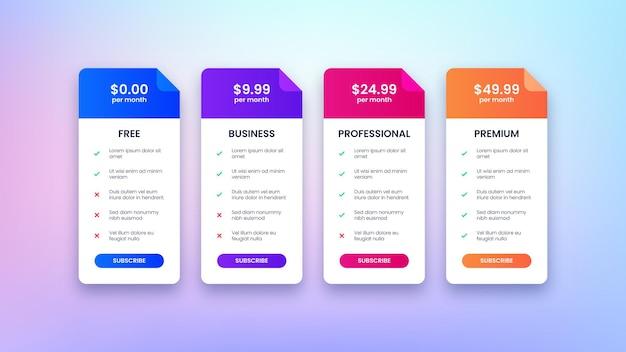 Planos de tabela de preços modernos para site e aplicativo