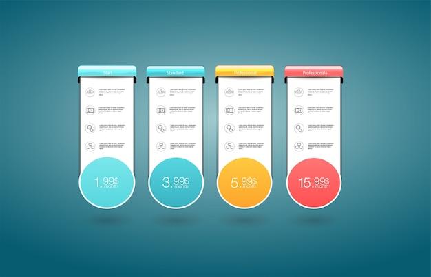 Planos de tarifas e preços. modelo de plano de preços de escolha.
