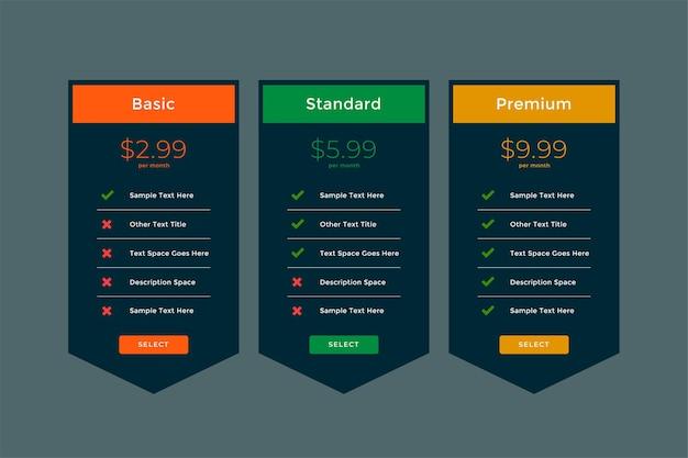 Planos elegantes e modelo de comparação de preços