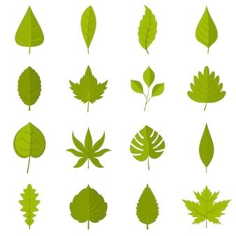 Plant folheia ícones definido em estilo simples