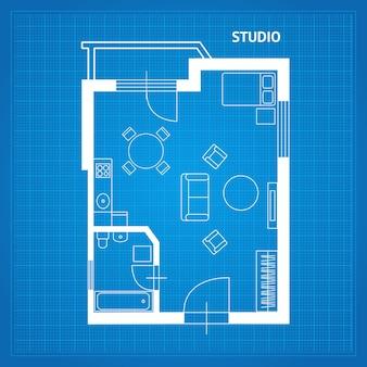 Planta baixa do apartamento, planta do estúdio com mobília