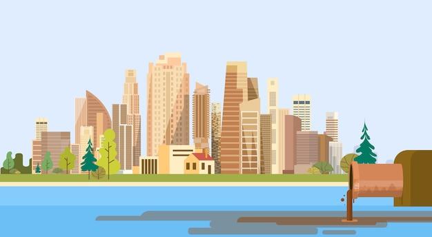 Planta da cidade da poluição da natureza