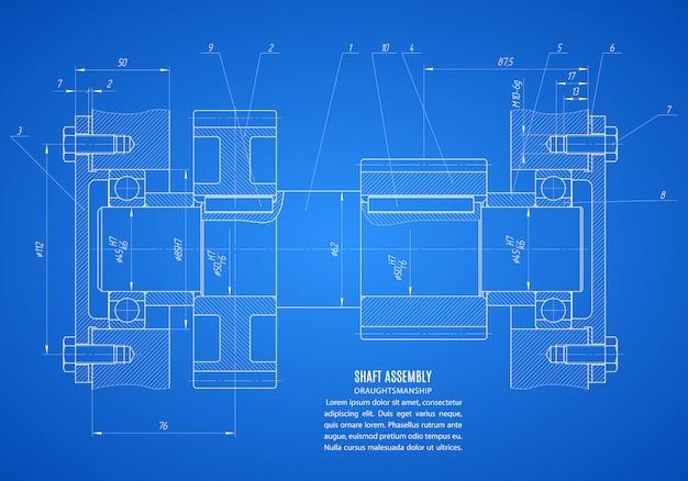 Planta da montagem do eixo, desenho técnico do projeto sobre o fundo azul