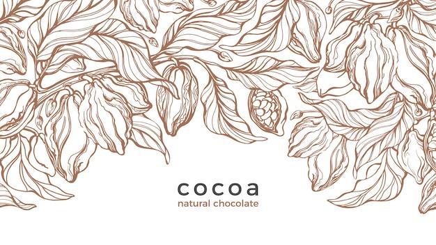Planta de cacau. esboço desenhado de mão, ilustração de gravura. colheita selvagem