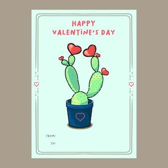 Planta de cacto bonito com cartão de dia dos namorados de corações
