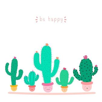 Planta de cacto bonito com rostos felizes em vasos