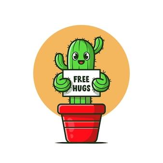 Planta de cacto feliz segurando a ilustração do ícone dos desenhos animados do free hugs board.