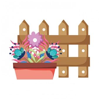 Planta de casa floral bonito com cerca
