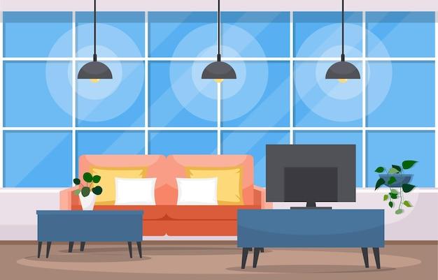 Planta de casa tropical verde decorativa na sala de estar