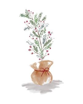 Planta de decoração de natal embrulhada com fita vermelha
