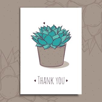 Planta de decoração suculenta polifila. texto de obrigado cartão postal de saudação. ilustração. cacto aloe