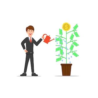 Planta de dinheiro molhando empresário