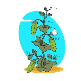 Planta de ervilha com frutas em grande estilo. ilustração.