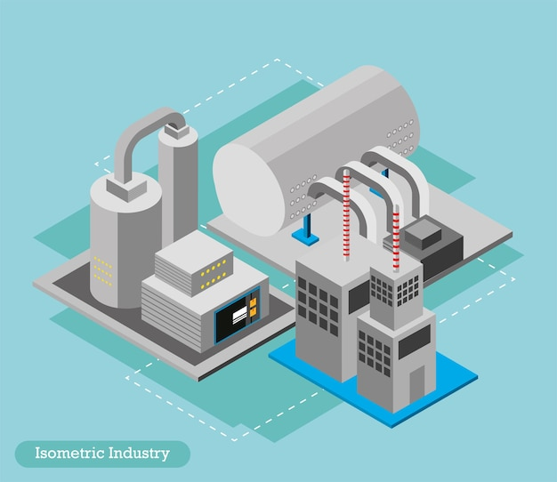 Planta de fábrica da indústria isométrica