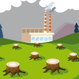 Planta de fábrica fumando torres de canos e árvores derrubando ilustração de poluição