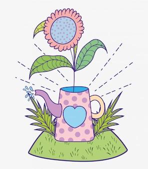Planta de flores com folhas dentro de regador