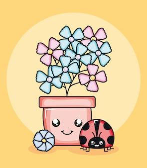 Planta de flores no jardim em vaso com estilo kawaii de joaninha
