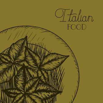 Planta de folhas desenhada em comida italiana dush