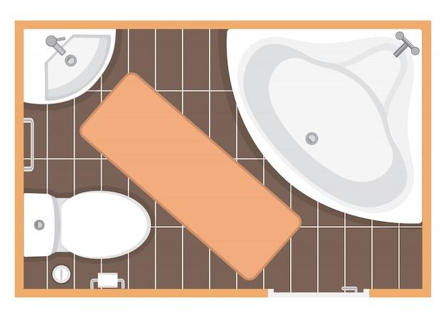 Planta de ilustração de quarto de banheiro