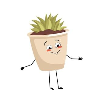 Planta de interior de personagem em um vaso com emoções alegres sorriso rosto olhos felizes planta de braços e pernas