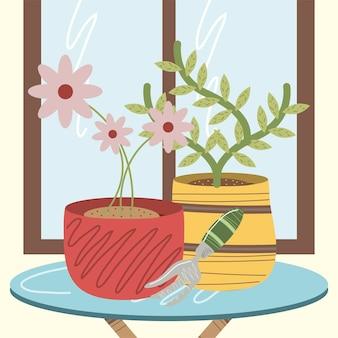 Planta de jardim doméstico em vaso e flores com ilustração de ancinho
