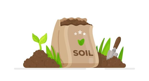 Planta de jardim, sbag de solo.