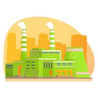 Planta de processamento de resíduos de fábrica. reciclagem de lixo. produção ecológica verde.