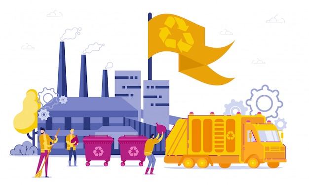 Planta de reciclagem e transporte cartoon flat.