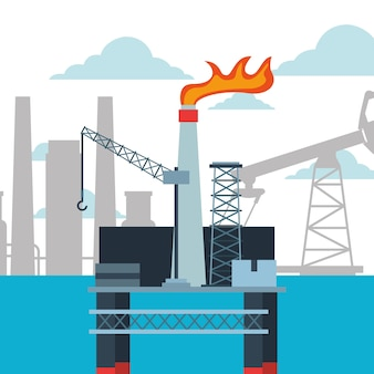 Planta de refinaria e plataforma de indústria petrolífera