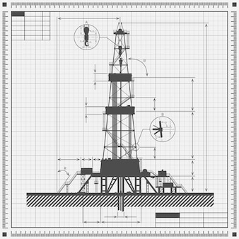 Planta de silhueta de plataforma de petróleo