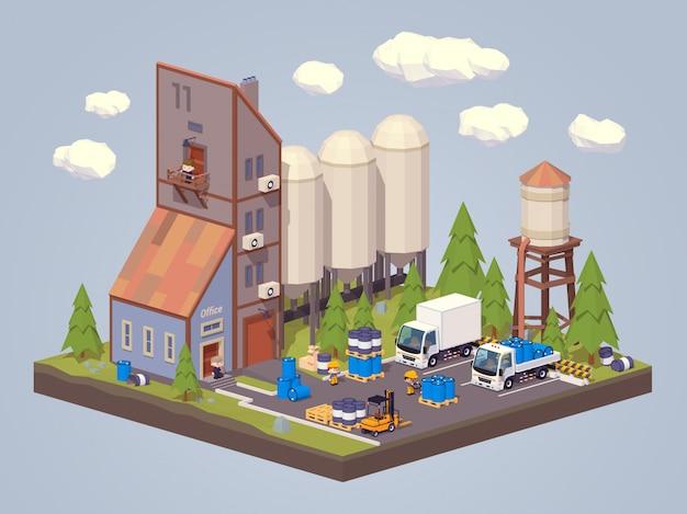 Planta de silo. 3d lowpoly armazenamento isométrico de líquidos