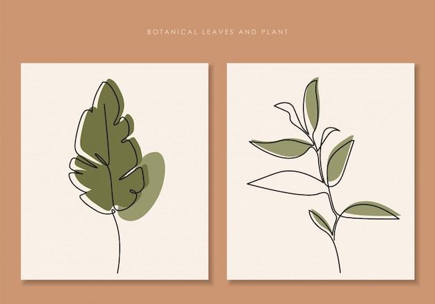 Planta, desenho de arte, folhas tropicais, conjunto de planta botânica isolado, desenho de arte simples