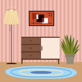 Planta do interior da casa com lâmpada e carpete