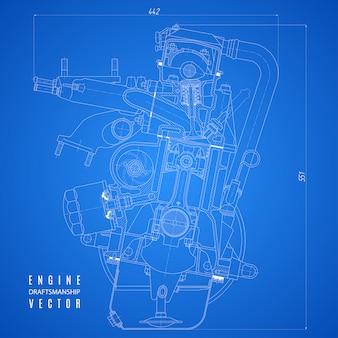 Planta do motor de combustão interna, desenho técnico no projeto de fundo azul