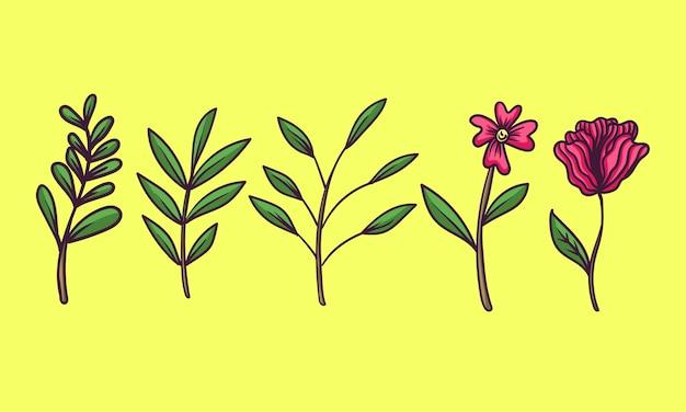 Planta e flor desenhada à mão