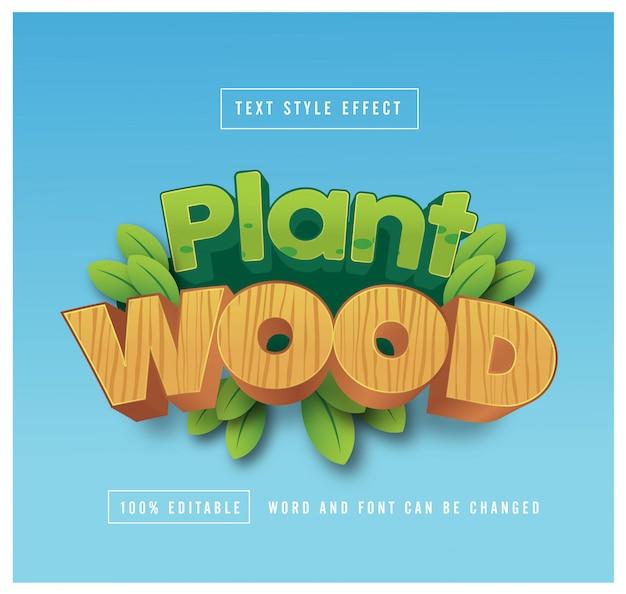 Planta e madeira efeito de estilo de texto editável