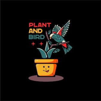 Planta e pássaro com ilustração de balão desenhada à mão, para camiseta