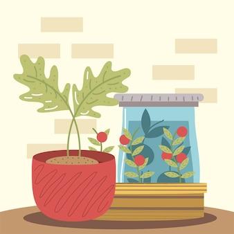 Planta em vaso de jardim doméstico e tomate em ilustração de maconha