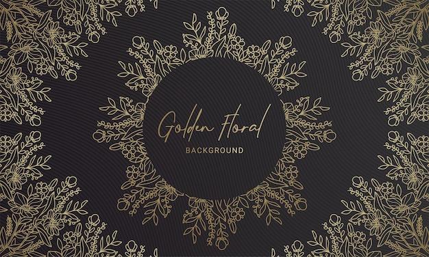 Planta floral elegante preta e dourada arredondada