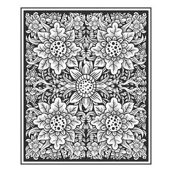 Planta floral flores ilustração mão desenho vetorial