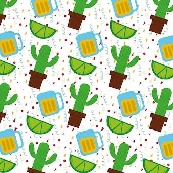 Planta mexicana de cactos e lima tequila