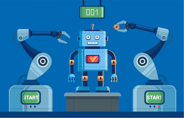 Planta para a produção de robôs com garras