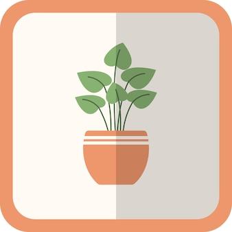 Planta plana verde de vetor no pote. ícone simples com sombra. elemento decorativo de jardinagem floral para design, jogo, conceitos.