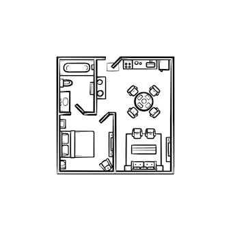 Planta quadrada com ícone de doodle de contorno desenhado de mão de móveis. arquitetura, layout, conceito de interior
