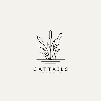 Planta taboa contorno minimalista logotipo design ilustração modelo de design