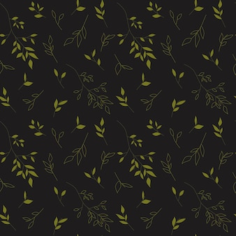 Planta verde desenhada à mão em fundo cinza