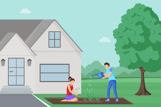 Plantando flores perto de ilustração de moradia