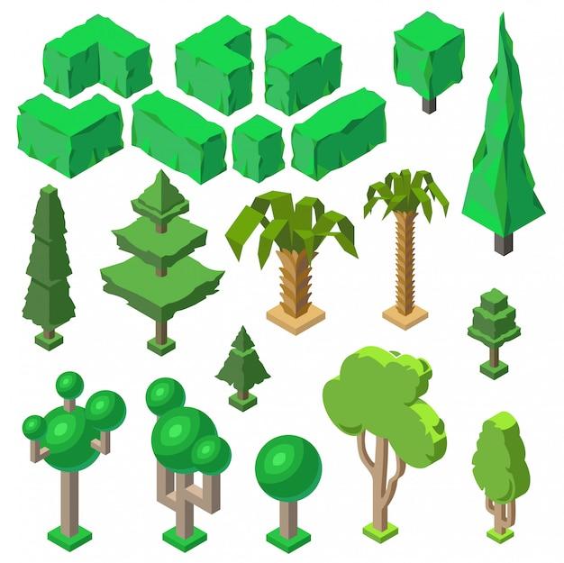 Plantas 3d isométricas, árvores, arbustos verdes, palmas. objetos da natureza, meio ambiente. ecologia, natura